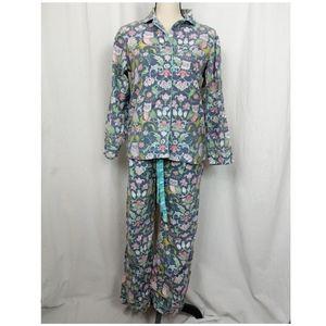 Nick & Nora Floral Owl Pajama Set Women's S